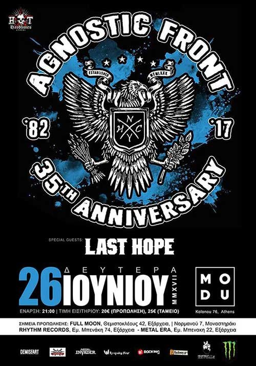 Agnostic Front, Last Hope Αθήνα @ Modu