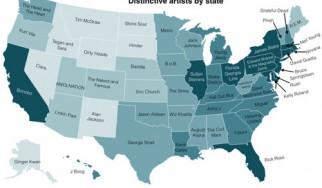 Χάρτης με τον αγαπημένο μουσικό κάθε πολιτείας των Η.Π.Α.