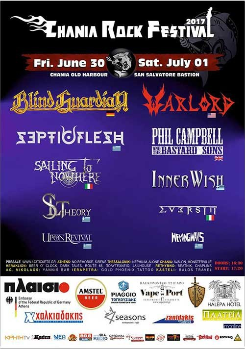 Chania Rock Festival: Blind Guardian, Septicflesh, Sailing To Nowhere, SL Theory Χανιά @ San Salvatore