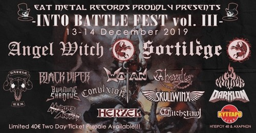 Into Battle Festival: Angel Witch, Mirror, Chevalier, Darklon, Skullwinx, Herzel, Withcrawl Αθήνα @ Κύτταρο