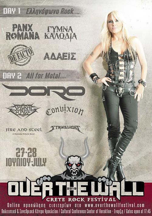 Over The Wall (Crete Rock Festival): Doro, Sacral Rage, Convixion, Fire Αnd Steel, Strikelight Ηράκλειο @ Πολιτιστικό Κέντρο Ηρακλείου