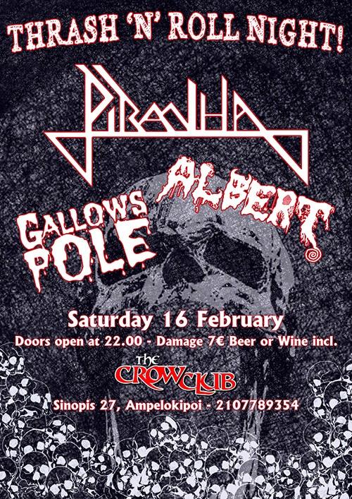 Piranha, Albert, Gallows Pole Αθήνα @ The Crow