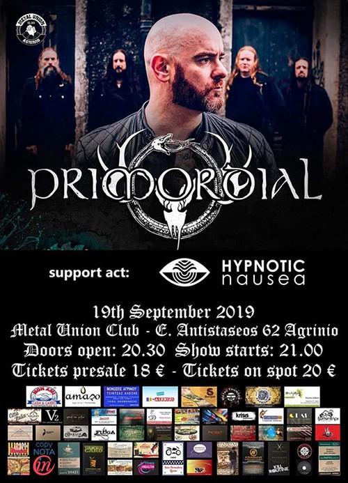 Primordial, Hypnotic Nausea Αγρίνιο @ Metal Union Club