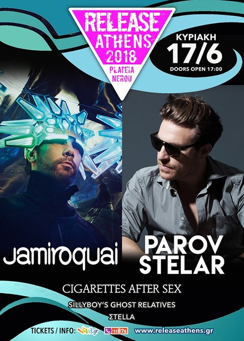 Release Athens: Jamiroquai, Parov Stelar, Cigarettes After Sex, Sillyboy's Ghost Relatives, Σtella Αθήνα @ Πλατεία Νερού, Ολυμπιακός Πόλος Φαλήρου