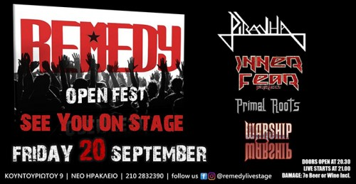 Remedy Open Fest: Piranha, Inner Fear Project, Primal Roots, Warship Αθήνα @ Remedy