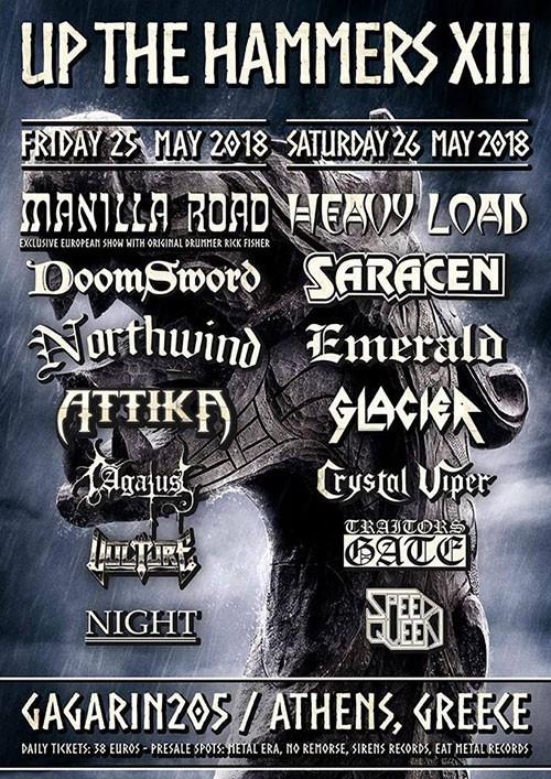 Up The Hammers Festival: Manilla Road, Doomsword, Northwind, Attika, Agatus, Vulture, Night Αθήνα @ Gagarin 205
