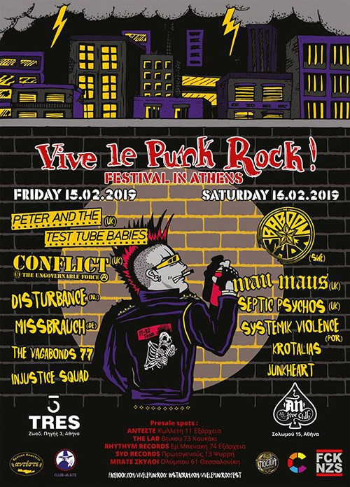 Vive Le Punk Rock Festival: Peter & Test Tube Babies, Conflict, Disturbance, Missbrauch, The Vagabonds 77, Injustice X Squad Αθήνα @ Tres
