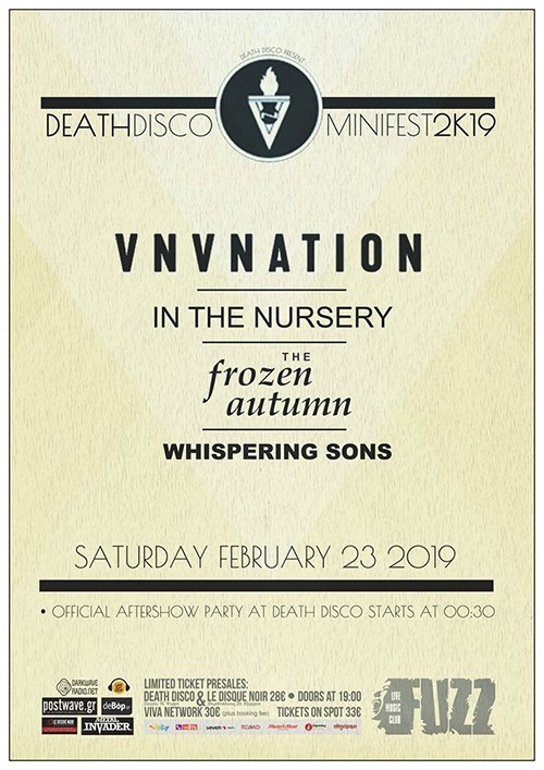 Death Disco Mini Fest 2K19: VNV Nation, In The Nursery, The Frozen Autumn, Whispering Sons Αθήνα @ Fuzz Club